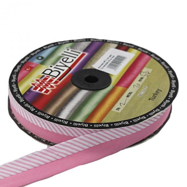Косая бейка розовая ёлочка х/б, 2 см