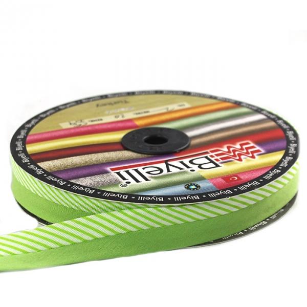 Косая бейка зеленая ёлочка х/б, 2 см