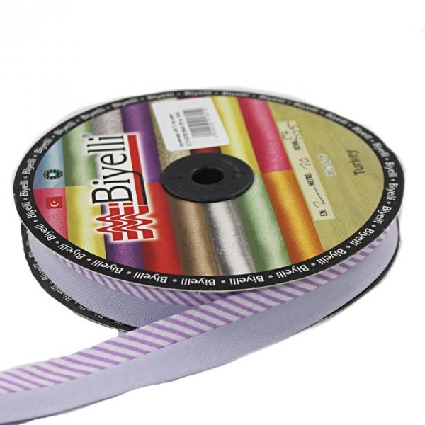 Косая бейка фиолетовая ёлочка х/б, 2 см