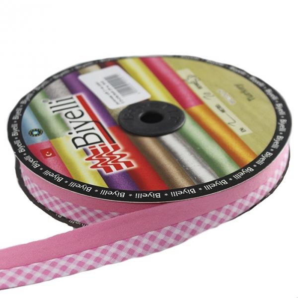 Косая бейка розовая клетка х/б, 2 см