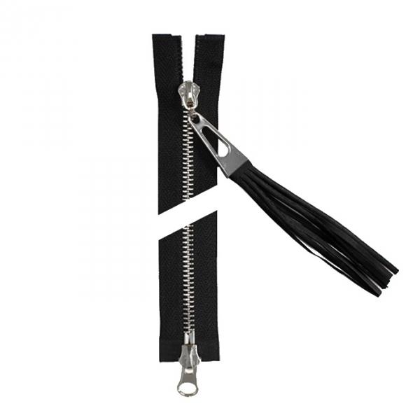 Молния Lux черная+никель, 50 см