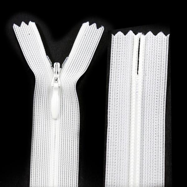 Молния Lux белая потайная, 18 см