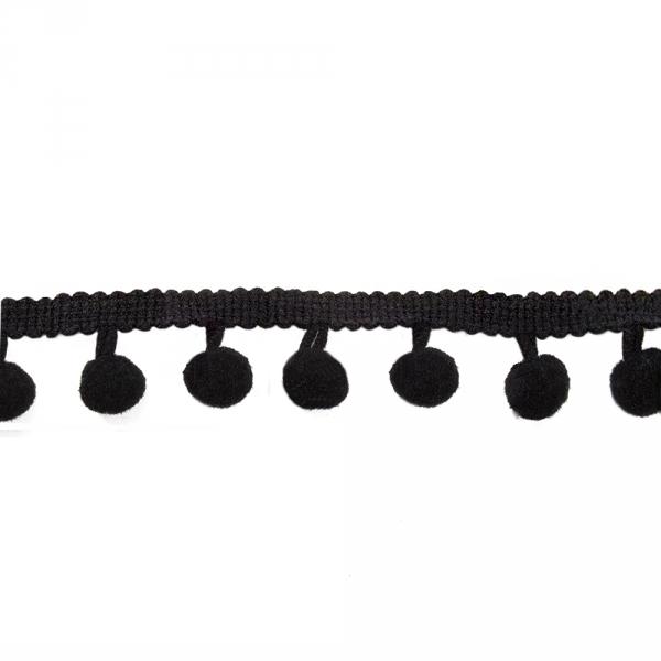 Лента с помпонами черная, 2 см