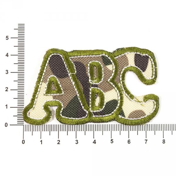 Аппликация пришивная буквы АВС зеленые