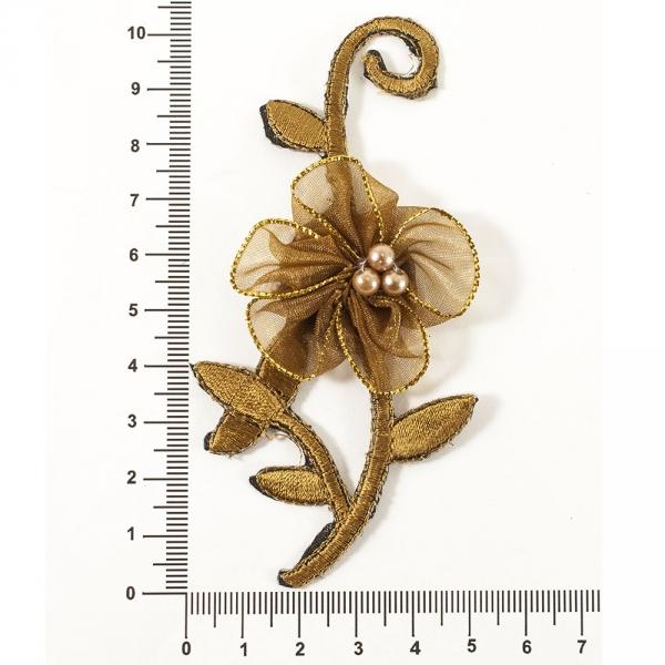 аппликация клеевая ветка с цветком коричневая