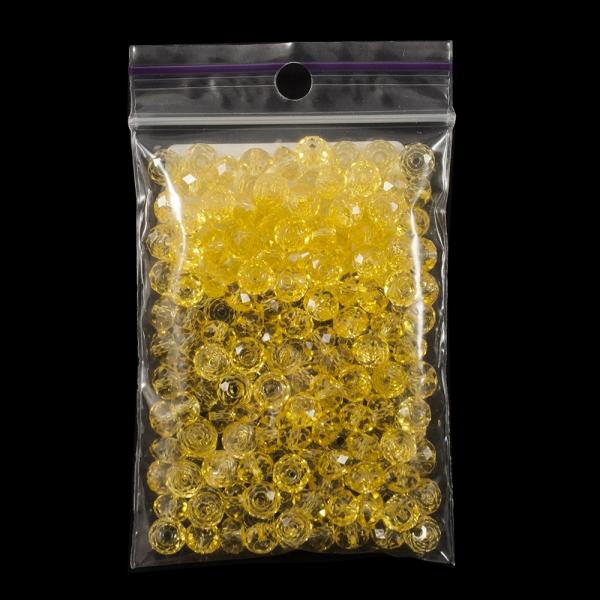 Бусины пластик, желтые, 0,6 мм.