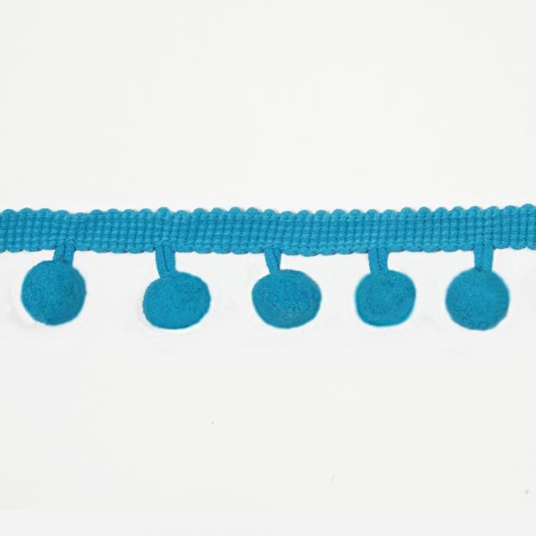 Лента с помпонами лазурно-голубая