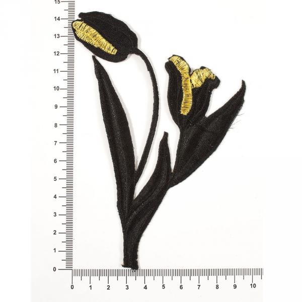 Аппликация клеевая два тюльпана черн.+золото