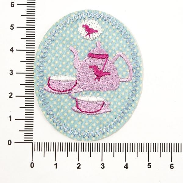 Аппликация клеевая овальная чайник и чашки