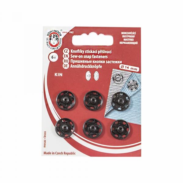 Кнопка пришивная черная, 14 мм