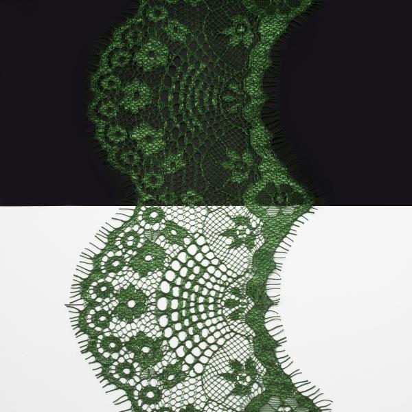 Кружево Zira шантильи, зеленое 8-10 см