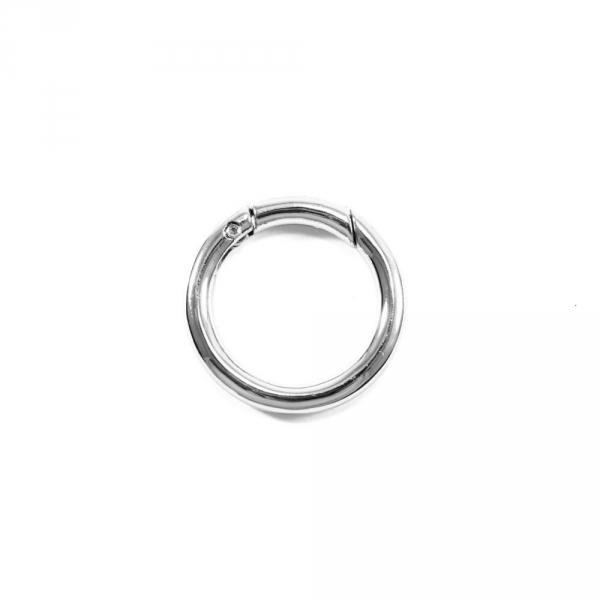 Карабин кольцо никель, 25 мм, металл
