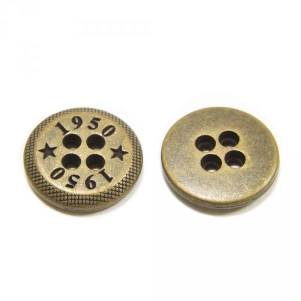 Пуговица золотая металл, 14 мм