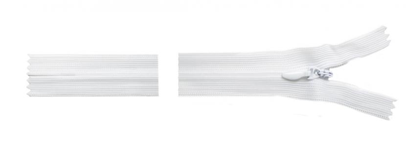 Молния белая потайная, 18 см